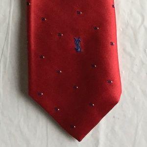 Vintage YVES SAINT LAURENT Polyester Tie Red Blue